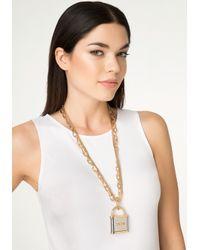 Bebe - Metallic Logo Lock Necklace - Lyst