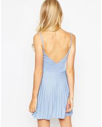 ASOS - Pink Mini Sundress With Pleated Skirt - Lyst