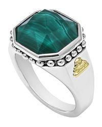 Lagos - Metallic 14mm Sterling Silver Malachite Rocks Ring - Lyst