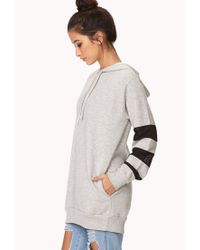 Forever 21 - Gray Mesh-trimmed Longline Hoodie - Lyst