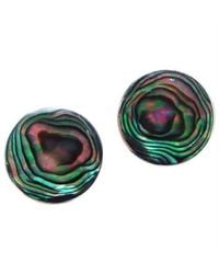 Aeravida | Multicolor Nice Round Green Abalone .925 Silver Post Earrings | Lyst