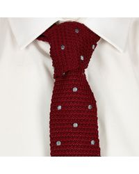 River Island - Red Polka Dot Knitted Tie for Men - Lyst