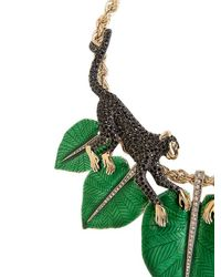 Roberto Cavalli - Green Monkey Necklace With Swarovski Crystals - Lyst
