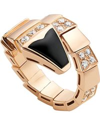 BVLGARI | Serpenti 18Ct Pink-Gold And Black-Onyx Ring - For Women | Lyst