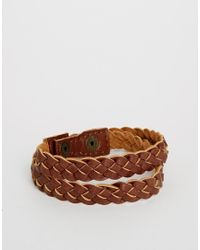 ASOS | Brown Leather Plaited Bracelet for Men | Lyst