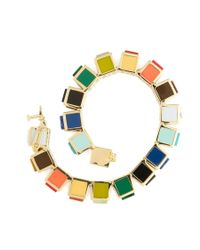 Eddie Borgo | Multicolor Inlaid Multi-stone Small Cube Bracelet Inlaid Multi-stone Small Cube Bracelet | Lyst