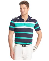 Izod | Green Northern Coast Striped Performance Golf Polo for Men | Lyst