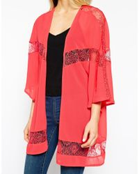 Girls On Film - Pink Longline Kimono With Lace Inserts - Lyst