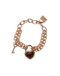 Rebecca - Metallic Large Lock And Key Bracelet - Lyst