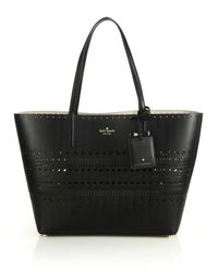 kate spade new york - Black Lillian Laser-Cut Leather Tote - Lyst