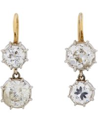 Renee Lewis | Yellow Diamond & White Gold Double-drop Earrings-colorless | Lyst