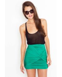 Nasty Gal - Ruched Knot Skirt - Kelly Green - Lyst