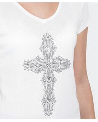 True Religion | White Cross Diamante T-shirt | Lyst