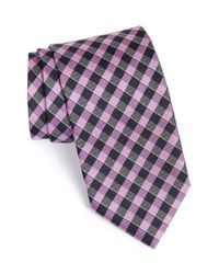BOSS - Purple Plaid Silk Tie for Men - Lyst