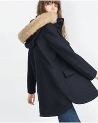 Zara | Blue Fabric Parka | Lyst