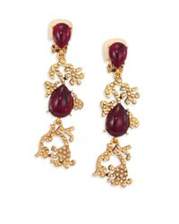 Oscar de la Renta | Metallic Cabochon Filigree Clip-on Earrings | Lyst