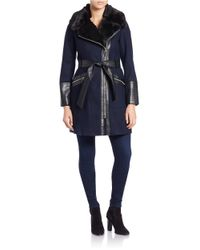 Via Spiga | Blue Leathertte And Faux Fur-trimmed Coat | Lyst