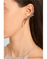Ryan Storer - Pink Triple Line Rose Gold-Plated Swarovski Crystal Cuff And Stud Earring - Lyst
