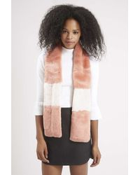 TOPSHOP - Multicolor Colour-block Faux Fur Stole - Lyst