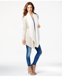 Kensie | Pink Long-sleeve Faux-shearling Cardigan | Lyst