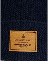 ASOS | Blue Stitch Detail Beanie With Patch for Men | Lyst