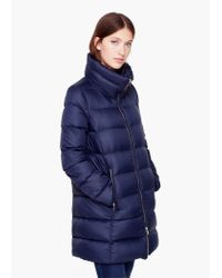 Mango - Blue Quilted Feather Coat - Lyst