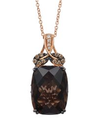 Le Vian | Black 14k Rose Gold Smoky Quartz And Diamond Pendant Necklace | Lyst