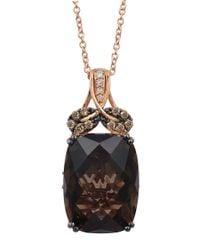 Le Vian | Black 14k Rose Gold Smoky Quartz And Diamond Pendant Necklace | Lyst