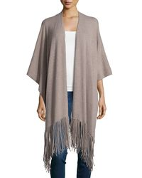 360cashmere | Natural Cashmere Open-front Shawl W/fringe | Lyst