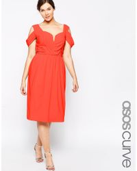 ASOS - Red Wedding Midi Skater Dress With Drape Shoulder - Lyst