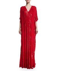 Naeem Khan - Red Sequined V-neck Silk Caftan - Lyst