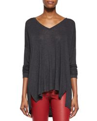 Vince - Black Luxe V-neck Draped Knit Tee - Lyst
