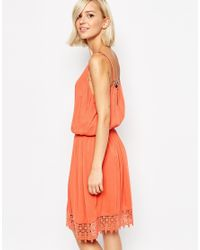 SELECTED - Orange Fida Dress With Crochet Trim - Lyst