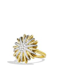 David Yurman | Yellow Starburst Ring With Diamonds In Gold | Lyst