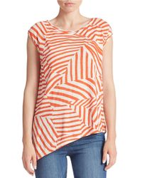 DKNY | Orange Striped Asymmetrical Tee | Lyst