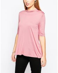 ASOS - Pink The Turtle Neck Swing Top With Short Sleeve - Lyst