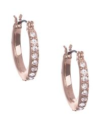 Anne Klein | Pink Rose Goldtone And Cubic Zirconia Hoop Earrings | Lyst