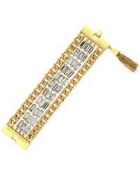 Vince Camuto - Metallic Gold-Tone Baguette Chain Tassel Bracelet - Lyst