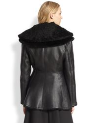 Acne Studios Black Leather Lamb Shearling Peplum Biker Jacket
