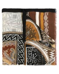 Etro - Brown Abstract Print Scarf - Lyst
