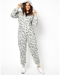 ASOS - Gray Exclusive Onesie in Heart and Star Print - Lyst