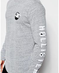 Hollister | Gray Long Sleeved T-shirt With Seagull Logo for Men | Lyst