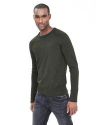 Banana Republic | Green Extra-fine Merino Wool Crew Pullover for Men | Lyst