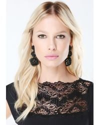 Bebe - Black Pave Rosette Earrings - Lyst