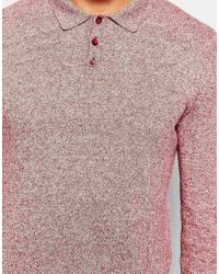 ASOS | Pink Knitted Polo Neck Jumper In Cotton for Men | Lyst