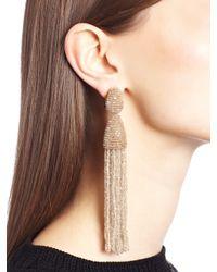 Oscar de la Renta - Natural Long Beaded Tassel Clip-on Earrings - Lyst