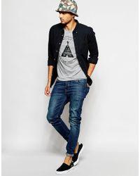 Jack & Jones - Gray T-shirt With Rubberised Originals Print for Men - Lyst