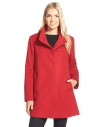Fleurette | Red Wool Stand Collar Car Coat | Lyst