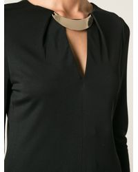 Halston | Black Gold-Tone Necklace Detail Fitted Dress | Lyst