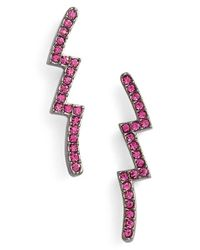 Nadri | Pink Lightning Bolt Post Earrings | Lyst